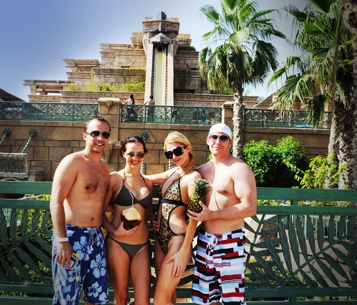 Paris Hilton, with Markus Thesleff, Verity Hatfield and Cy Waits, at Aquaventure, Atlantis The Palm, Dubai
