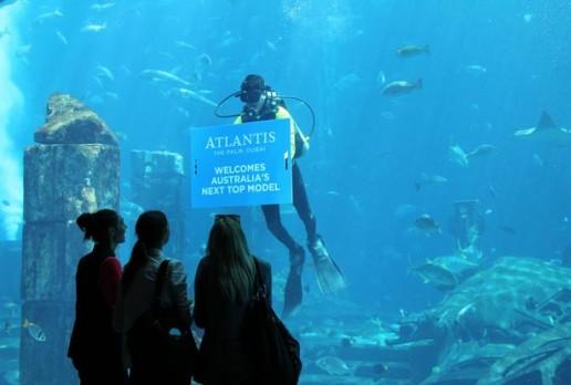 Australia's Next Top Model greeted at Ambassador Lagoon, Atlantis The Palm, Duba