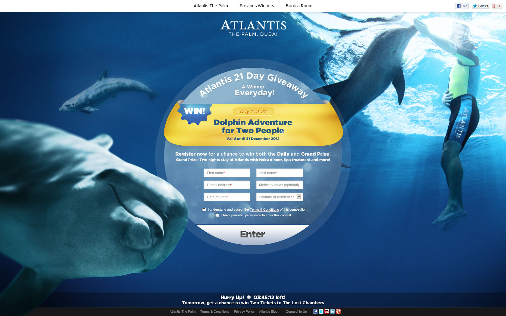Day 1 - Win a Dolphin Adventure for Two People