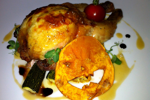 Halloween Baby Chicken, Pumpkin, Ricotta and Sage Stuffing, Roasted Garlic Sauce