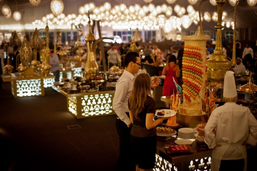 Guests enjoy the Arabian hospitality at Asateer Ramadan Tent